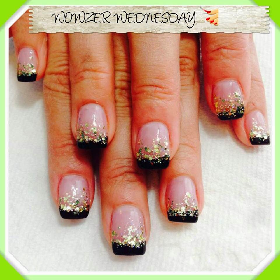 Acrylic French Manicure , Black And White Nail Art Designs