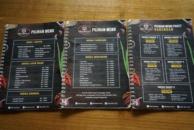 Daftar menu dan harga di Bale Kanoman Bantul