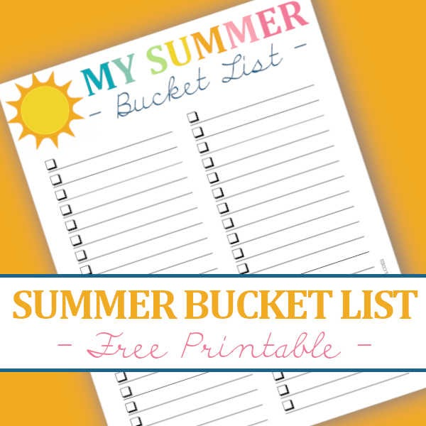 graphic relating to Bucket List Printable referred to as Do it yourself Dwelling Adorable Dwelling: Blank Summertime Bucket Record - No cost Printable