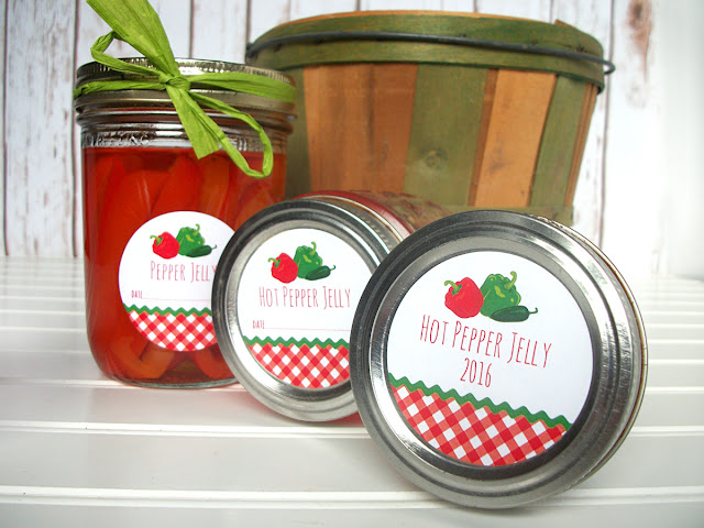 Gingham Hot Pepper Jelly Mason Jar Labels
