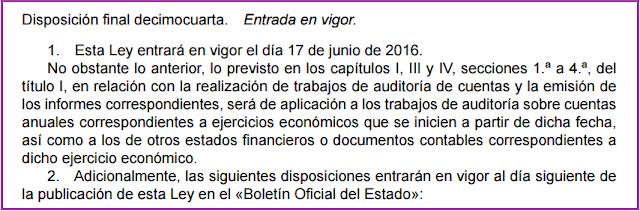 Disposición final decimocuarta ley 22/2015 de auditoría de cuentas entrada en vigor