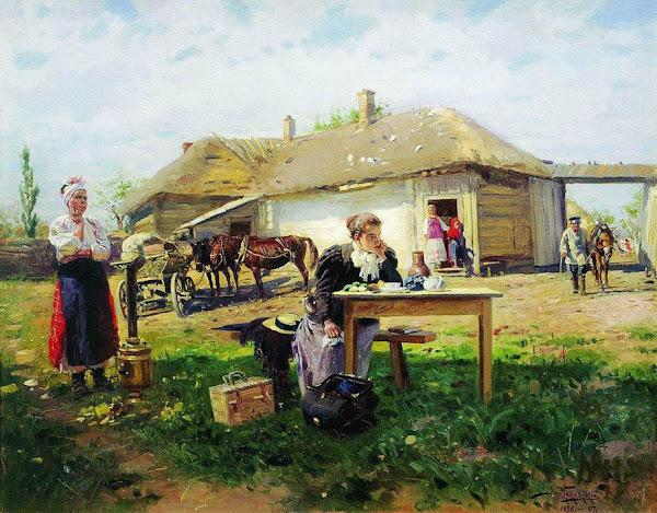 Маковский Владимир Егорович - Приезд учительницы в деревню. 1897