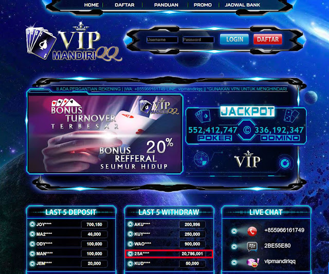 Bukti Transfer VIPMANDIRIQQ Rp 20.786.001,-