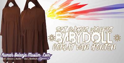 Gamis Syar'i Babydoll Coklat Vanhouten