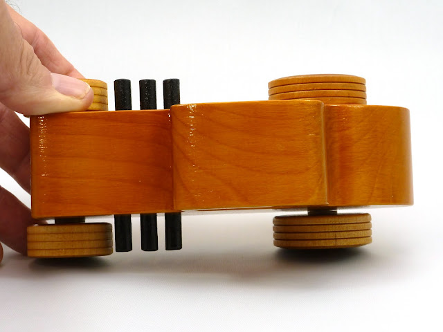 Top - Wooden Toy Car - Hot Rod Freaky Ford - 32 Deuce Coupe - Pine - Amber Shellac - Red Hubs