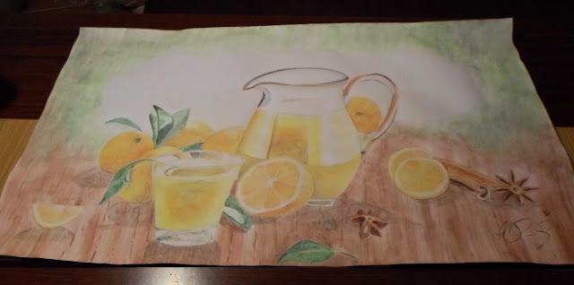 POMARAŃCZE W KUCHNI, czyli moje malunki // Oranges in kitchen. Obraz