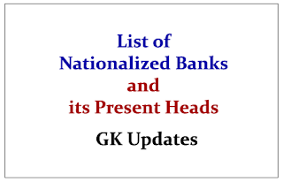 List of Nationalized Banks and its Present Heads 2015- GK Updates