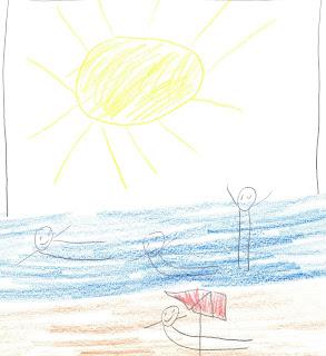 Nixklusionsmännchen sonnen sich am Strand und toben im Wasser. Oben eine dicke Sonne.