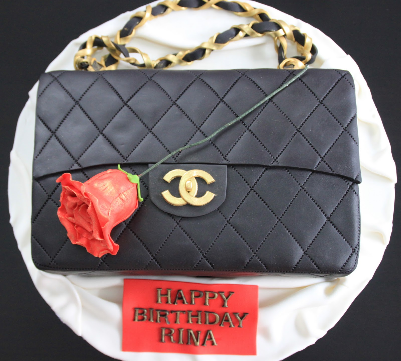 Chanel Bag Cake With Red Rose