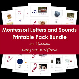 Montessori Letters and Sounds Printable Pack Bundle in Cursive