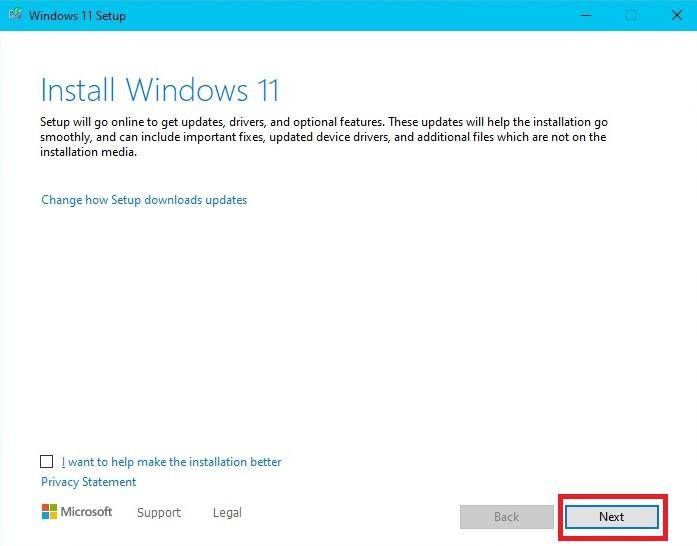 Windows 11 Install page prompt