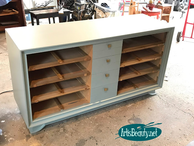 mcm dresser makeover using persian blue general finishes milk paint