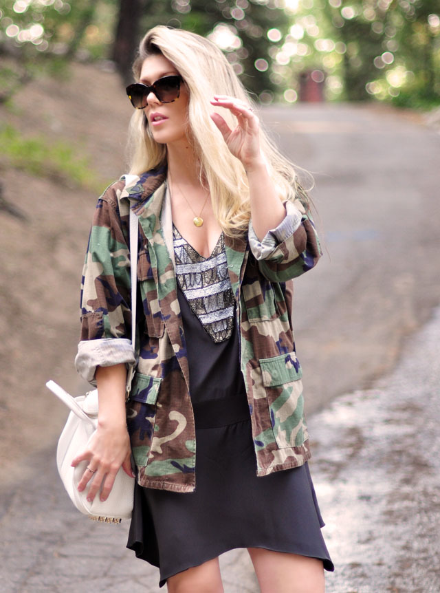 karen zambos dress, camo jacket