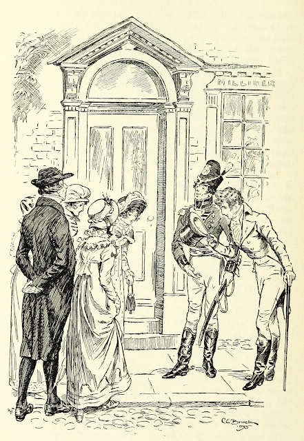 Mr Wickham is introduced to the Bennet girls by C E Brock (1895) From Pride and Prejudice by Jane Austen (1895 edition)
