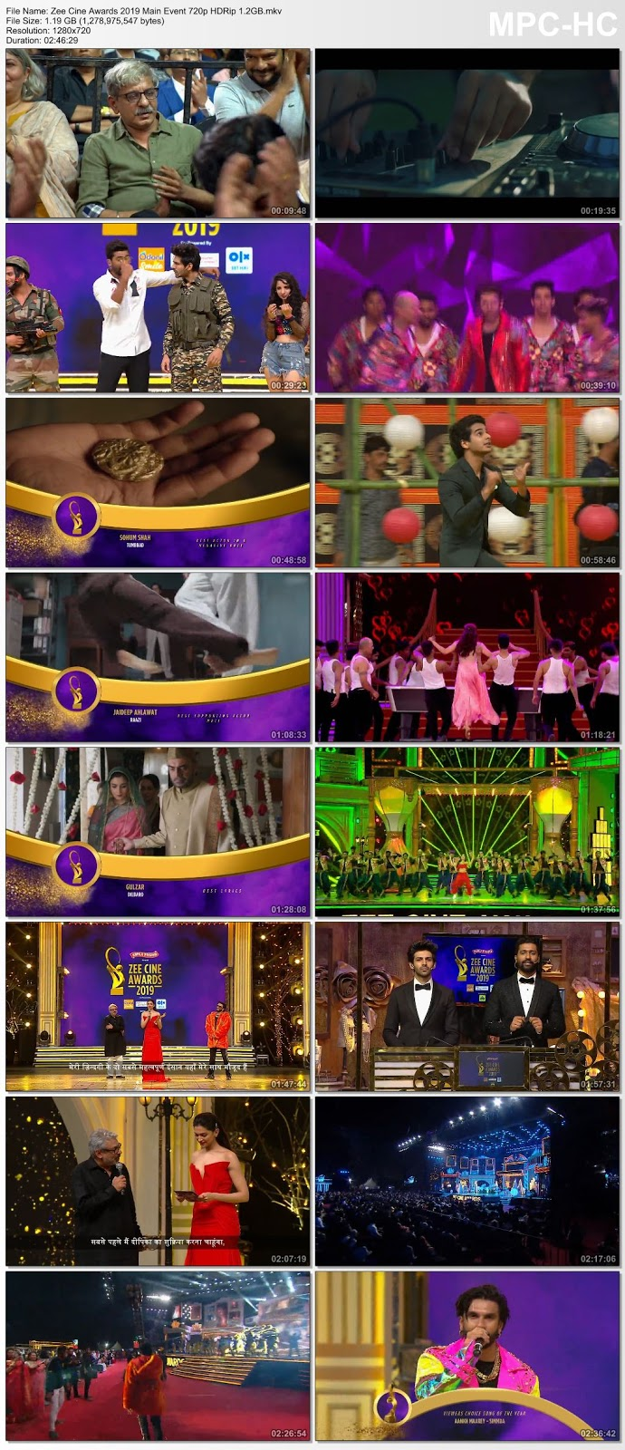 Screen Shoot of Zee Cine Awards 2019 Main Event 480p WEB-DL 450MB