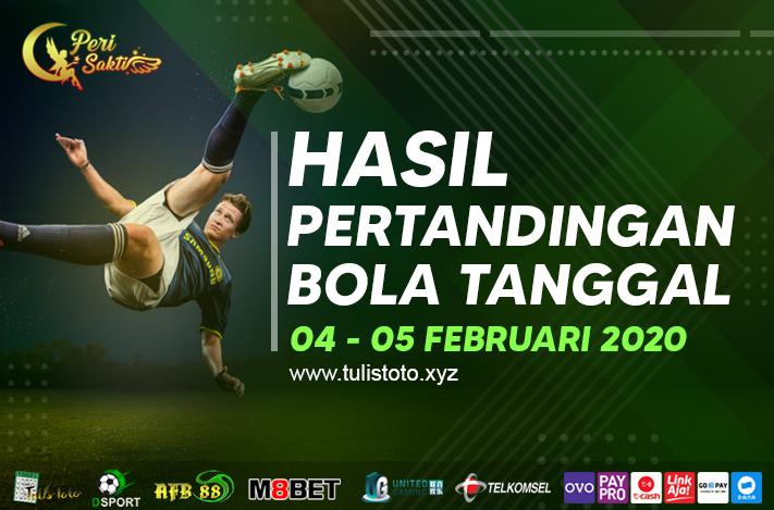 HASIL BOLA TANGGAL 04 – 05 FEBRUARI 2021
