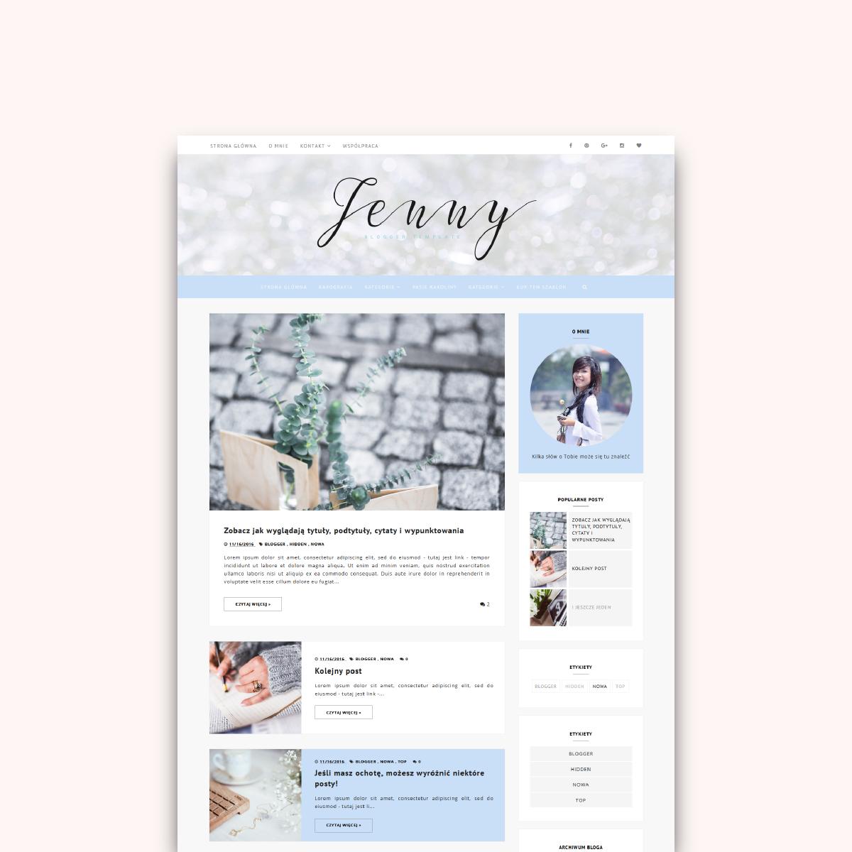 Szablon na bloggera (blogspota) do kupienia - elegancka JENNY