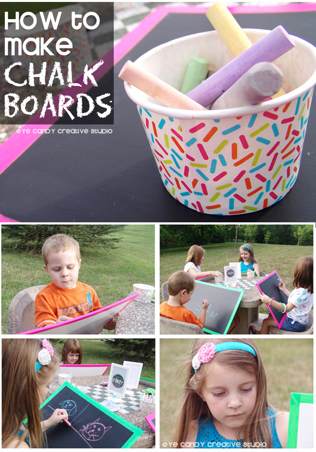 art party chalkboards, how to make a chalkboard, kids art party, chalk