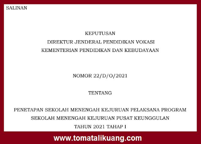 sk dirjen penetapan smk pusat keunggulan tahap 1 tahun 2021 pdf tomatalikuang.com