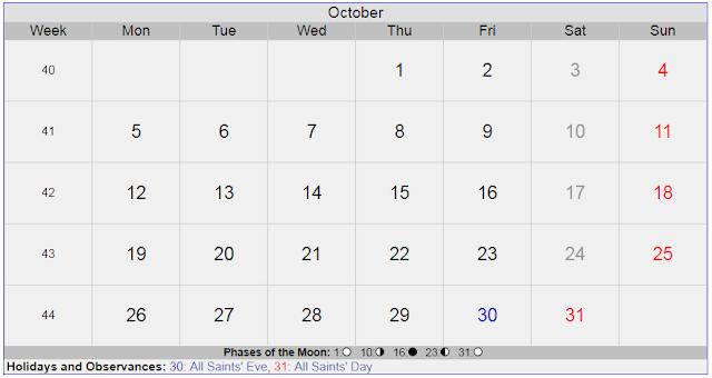 Calendar for October 2020 Sweden