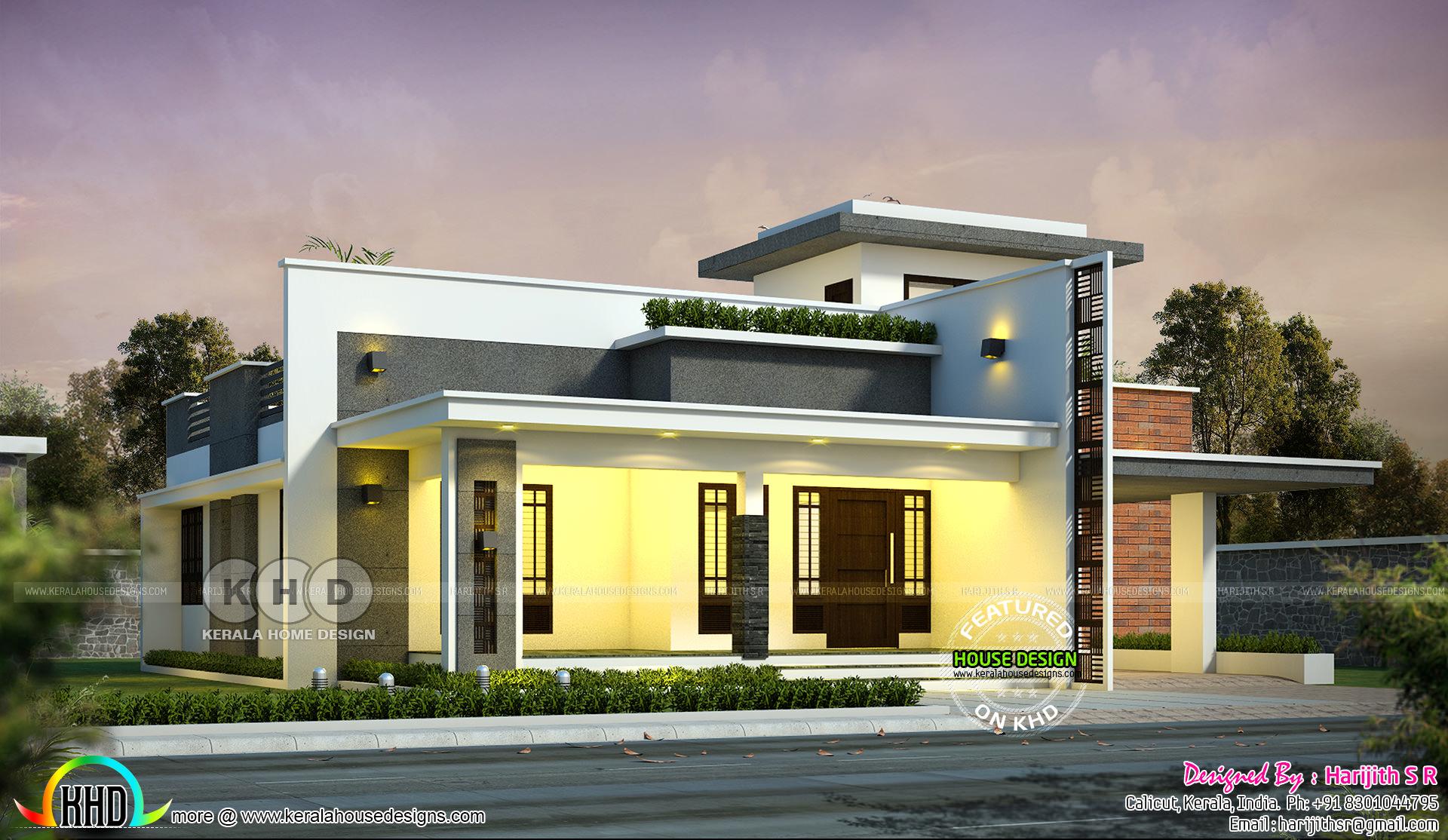 1700 Sq Ft 2 Bedroom Single Floor House Kerala Home