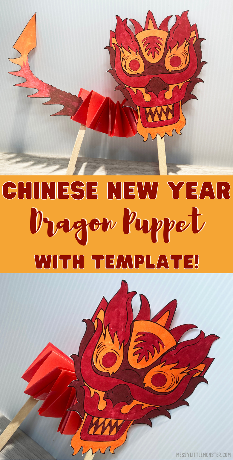 Chinese Dragon Puppet. Chinese New Year Craft for kids. Printable dragon puppet template.