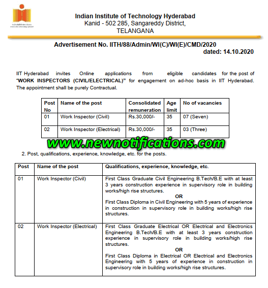 IIT Hyderabad Recruitment 2020