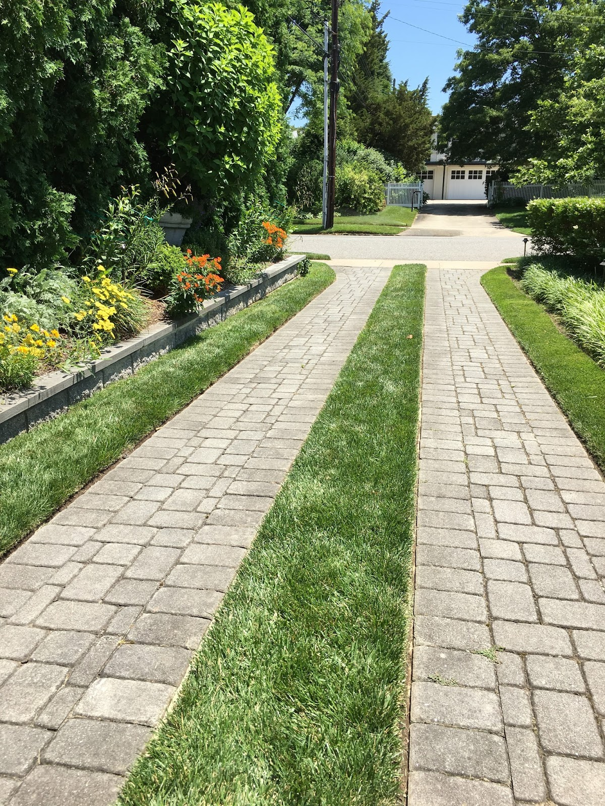 Ribbon driveway with pavers