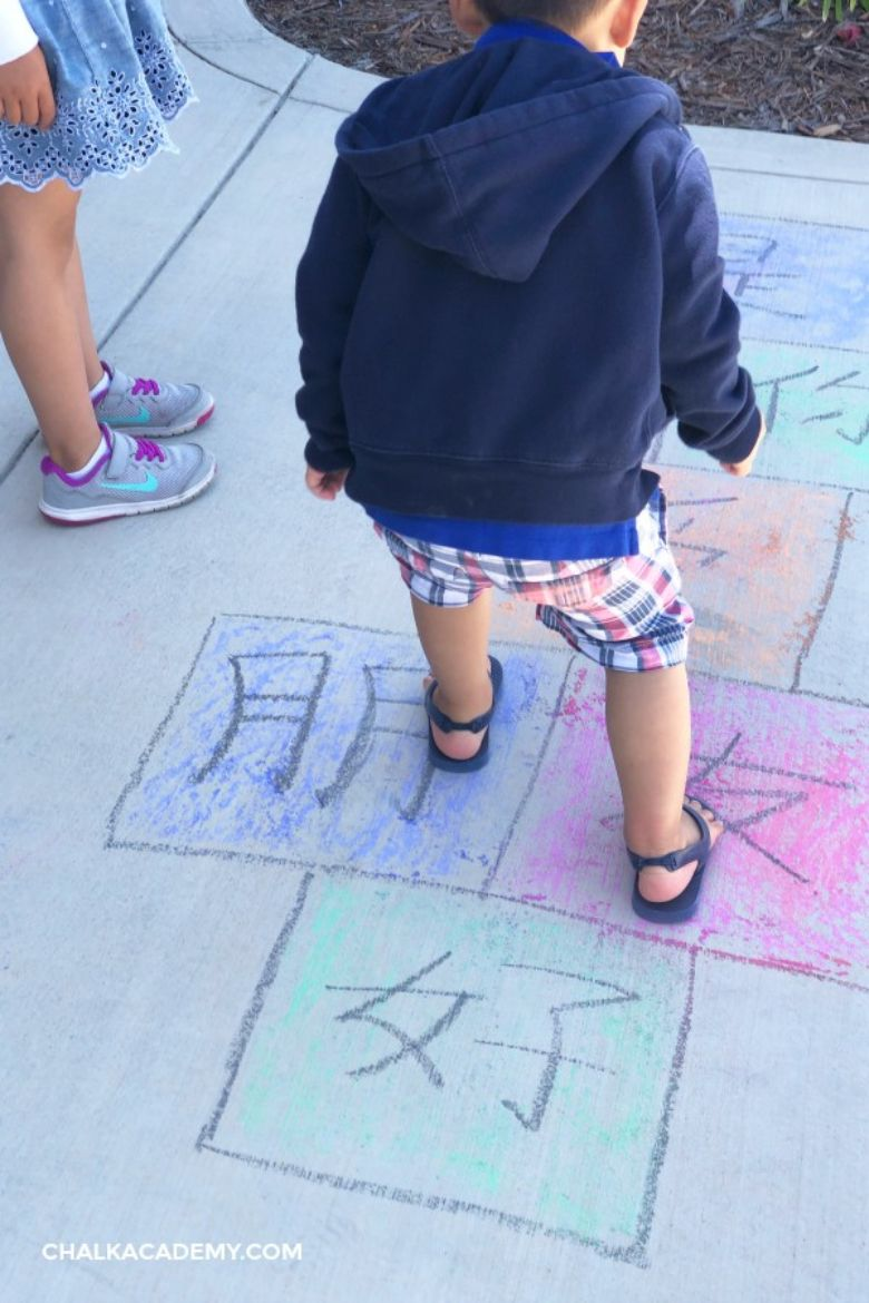 sidewalk chalk activities to teach chinese