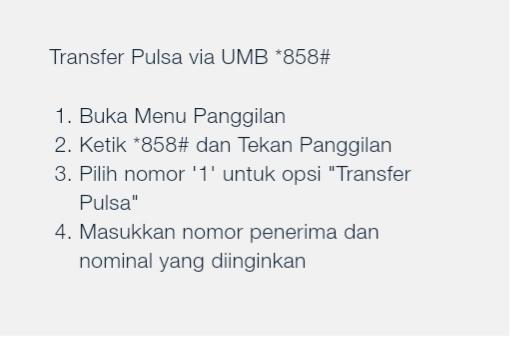 Transfer Pulsa Telkomsel via UMB *858#