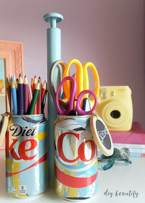 "Have you ever up-cycled soda cans or bottles? I used the unique, limited time ""It's Mine"" products from Diet Coke to create a DIY craft caddy, perfect for organizing all your craft supplies. For the full tutorial, please visit diy beautify."