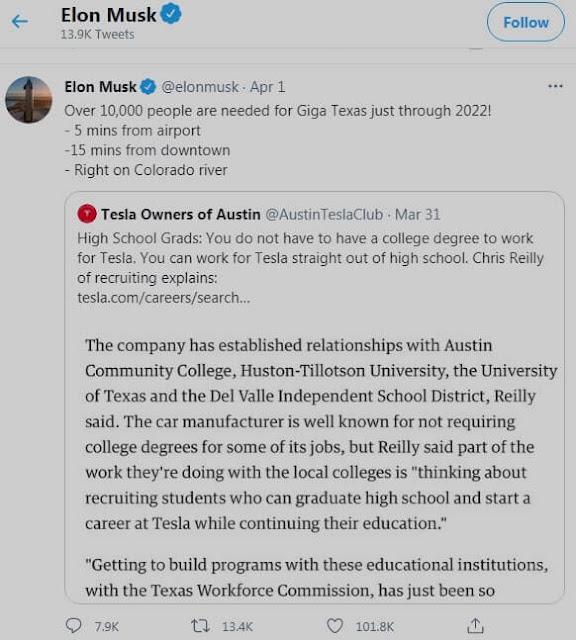 एलन मस्क टेस्ला में रोजगार देंगे