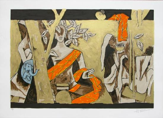Theorama Buddhism by M. F. Husain at Indiaart Gallery (www.indiaart.com)