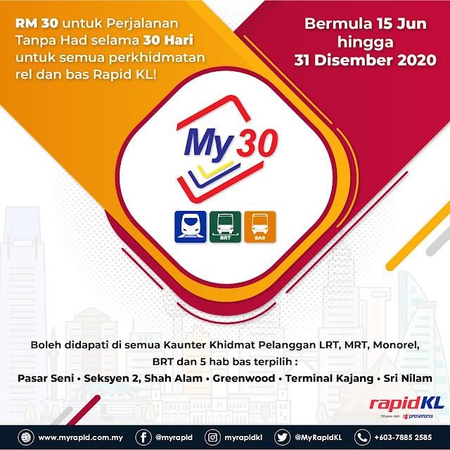 Pas Perjalanan Tanpa Had My30 Dengan Harga RM30 Sahaja