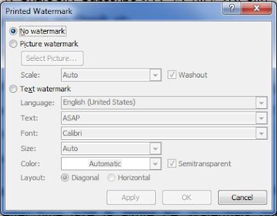 Watermark option in Ms Word