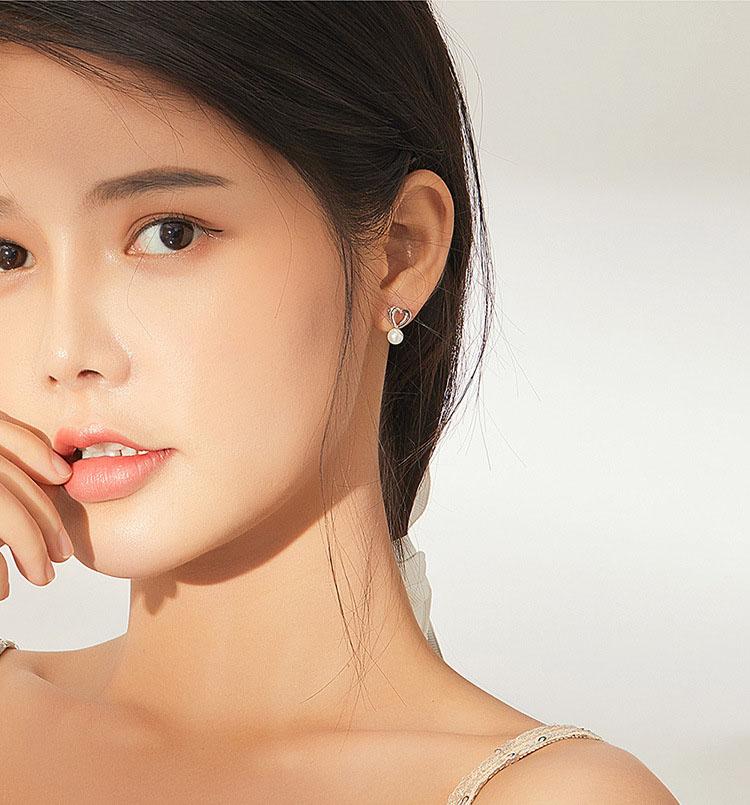優美 3D愛心 925純銀貝珠耳環