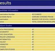 9 a's waec result