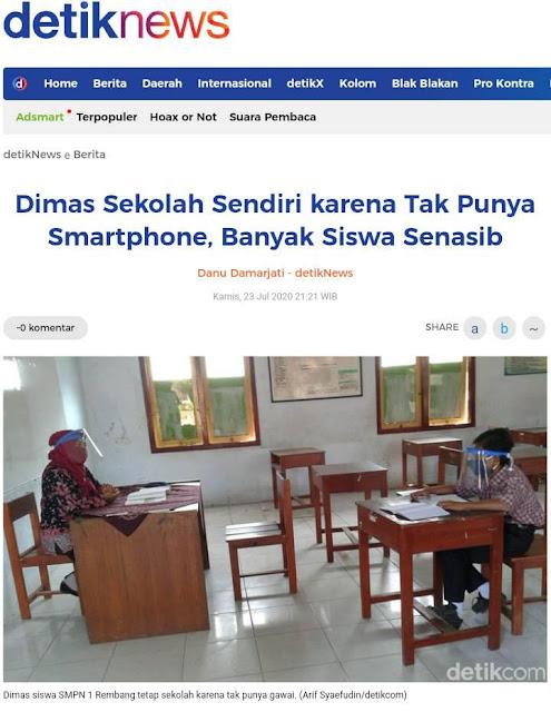 Viral Dimas yang Masuk Sekolah Sendirian karena Tak Punya Smartphone