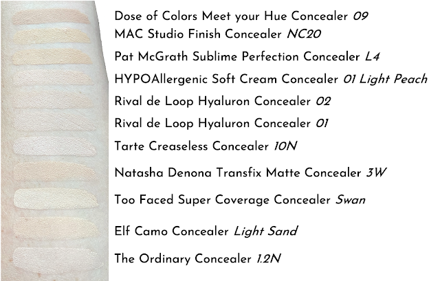 Concealer Swatch Tarte Creaseless Too Faced Elf Camo Pat McGrath Natasha Denona Dose Colors Ordinary Rival Loop Hypoallergenic MAC