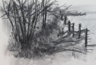 sketch charcoal landscape ditch fence