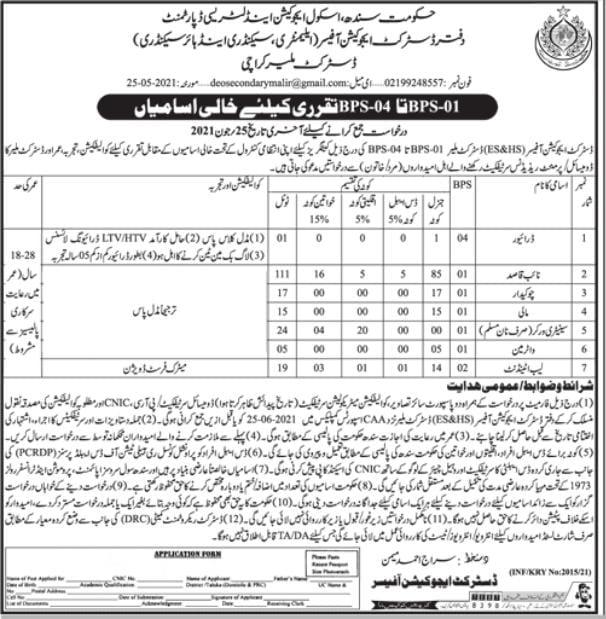 Latest School Education and Literacy Department Karachi Jobs 2021