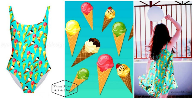 ice cream-cones-blue-pattern-yamy-morrell
