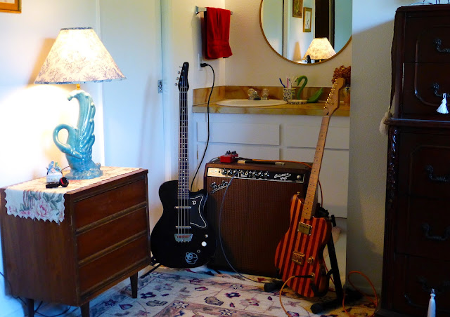 economy recording, bedroom studio, cheap, Jimmy Clifford, Jim Clifford, James Aoyama, Danelectro bass, Butcher Block guitar, Bassman, combo amp, swan lamp, 1950s furniture, commode,