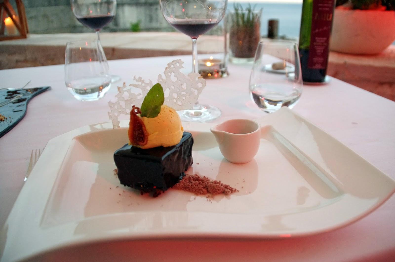 Chocolate desert at Nautika Restaurant Dubrovnik