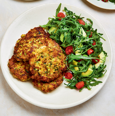 Corn and Courgette Fritters with Tomato, Avocado and Rocket Salad