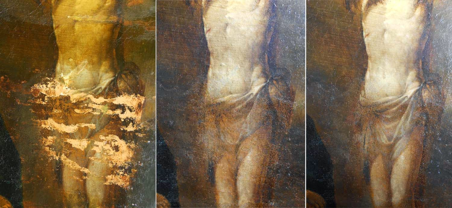 Proses restoration painting. Spanish School painting 16th century