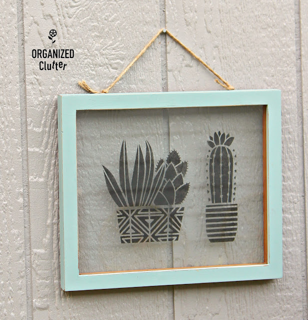 Garage Sale Floating Frame Stenciled Succulent/Cactus Wall Art #stencil #garagesalefinds #upcycle #walldecor #frameideas