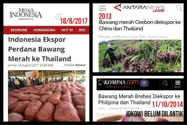 "Rakyat Dibodohi Eksploitasi Citra, ""Ekspor Perdana Bawang Merah"" Padahal Sudah Ekspor Sejak Zaman SBY"