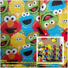 Sprei Custom Katun Lokal Anak Elmo Kartun Karakter Pattern Kuning Biru Merah