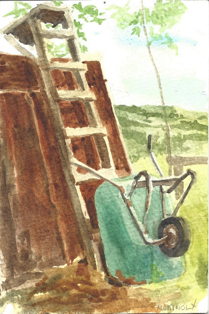 Watercolor of wheelbarrow propped up against ladder leaning on shed wall. Hills and fields in background